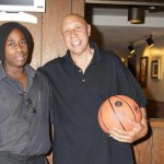 "MAURICE DWAYNE SMITH, DEPUTY EDITOR OF COLD HEAT NEWS, WITH LEGENDARY COACH AND ATHLETE, AND CURRENT NBA MEMPHIS GRIZZLIES BASKETBALL COACH AT THE KNBSTV STUDIO, SHOOTING ""THE MAURICE DWAYNE SMITH"" TV SHOW , IN HOLLYWOOD, PROMOTING HIS  NEW BASKETBALL TRAINING CREATION CALLED ""THE DRIBBLE-PRO""."