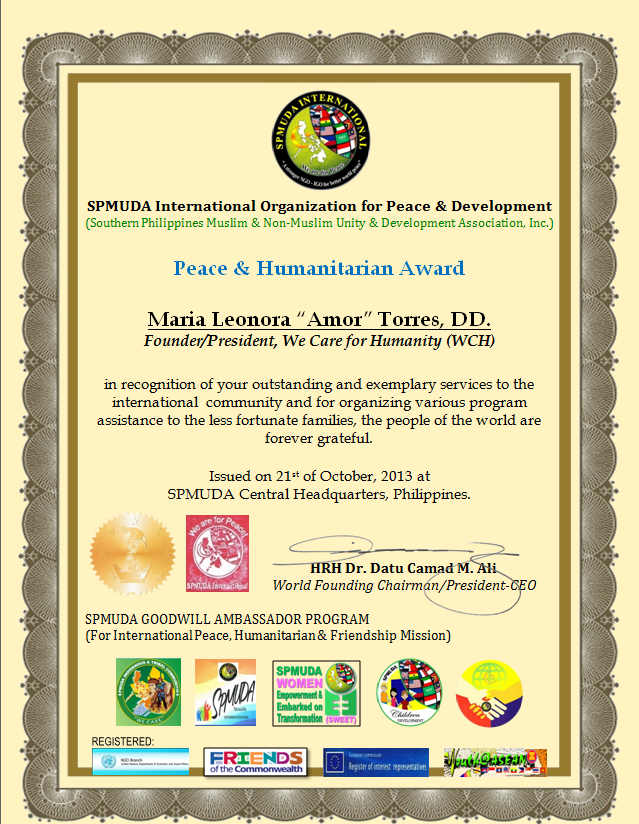 Founder and President of We Care for Humanity Maria Amor is Bestowed the Peace and Humanitarian Award by  the SPMUDA International Organization for Peace and Development