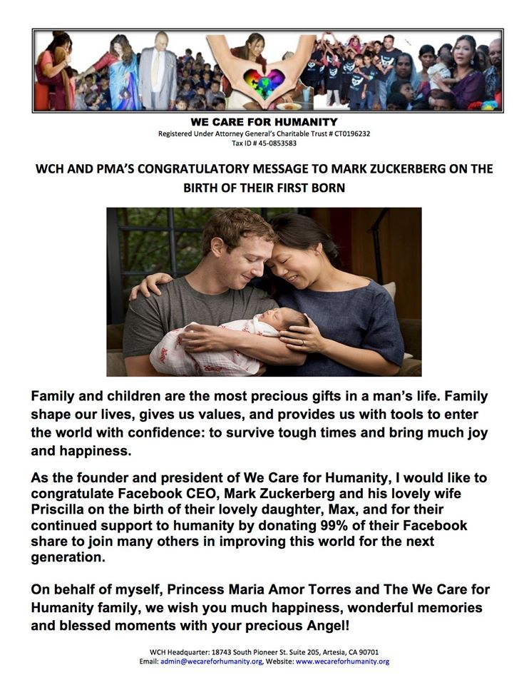 ON BEHALF OF WE CARE FOR HUMANITY-WAY TO GO MARK ZUCKERBERG !! Congratulations on your 1st baby!